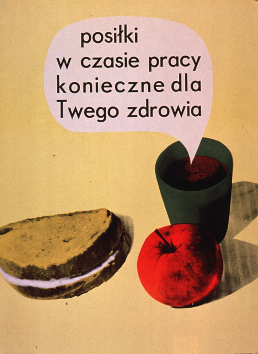<p>Predominantly yellow poster with black lettering.  Visual image is an illustration of a sandwich, an apple, and what appears to be a cup of coffee.  Title text in a balloon above the beverage, as if the beverage is speaking.  Title may state that a meal during the work day is necessary for the sake of one's health.  Publisher information in lower left corner.</p>