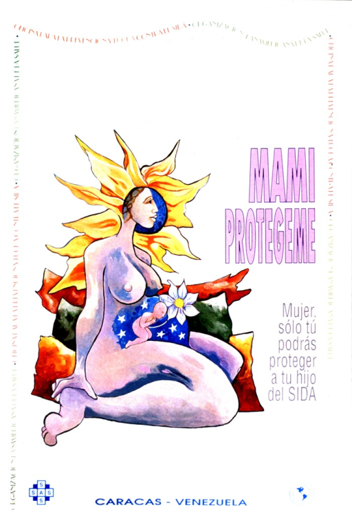 <p>A pregnant, nude woman is sitting facing sideways.  In her abdomen is an infant in a blue background with stars.  A white flower grows from the infant.  The mother's hair looks like rays from the sun. The names of the two corporate bodies form the border on three sides.</p>