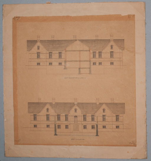 <p>East and west elevations of the Sheppard Asylum.</p>