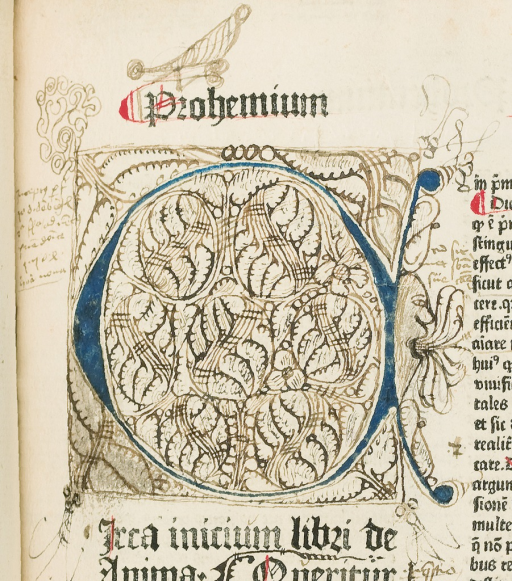 <p>Illumination with doodles and drawings, including an open-mouthed human profile, with multiple tongues sticking out. Copulata, &quot;De Anima&quot;, f. 2a.</p>