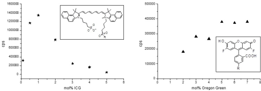 Cationic liposomes (CL) formulations labeled with indocyanine green (ICG) or Oregon green (OG) were internally quenched. Liposomes composed of 60 mol% 1,2 dioleoyl-3-trimethylammonium propane (DOTAP), 40 - x mol% 1,2 dioleoyl-sn-glycero-3-phosphocholine (DOPC), and x mol% ICG-DOPE or OG-DOPE were prepared and diluted 1:50 (CL-ICG) or 1:2,000 (CL-OG). Intraliposomal quenching reduces the fluorescence in the liposomal membrane at concentrations of more than 0.5 mol% ICG or 5 mol% OG. The fluorescence signal of ICG is ten times lower than that of OG if the different dilutions are taken into account.