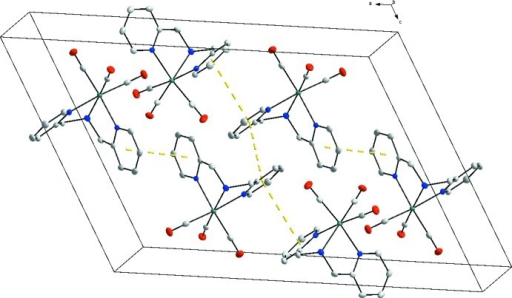 Packing of the title compound in the unit cell and the observed π-π stacking in the crystal structure, indicated by dashed lines (hydrogen atoms omitted for clarity).