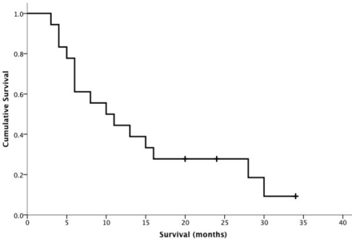 The Kaplan-Meier survival curve showed patients' survival after bone metastases from gynecological malignancies. The median survival time from diagnosis of bone metastasis was 10.0 months (95% confidence interval (CI), 3.8 to 16.2 months).