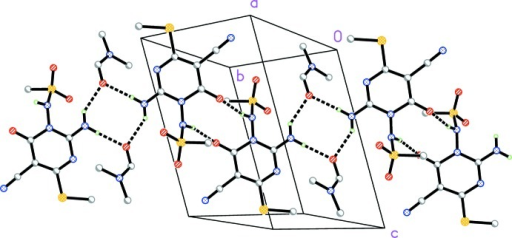 Packing diagram of compound (I)· DMF viewed perpendicular to (10). For clarity, only the ipso carbons of the bromo­phenyl groups are shown. Classical hydrogen bonds are indicated by dashed lines.