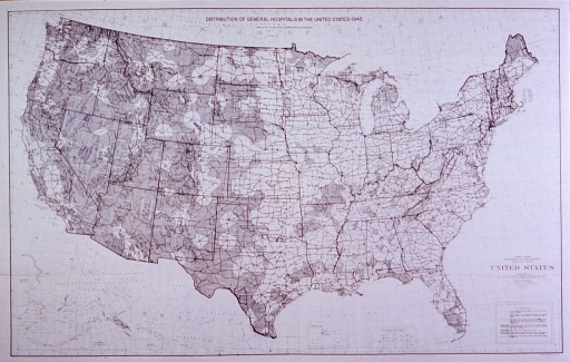 <p>Map showing the distribution of general hospital facilities in the United States, 1943.</p>