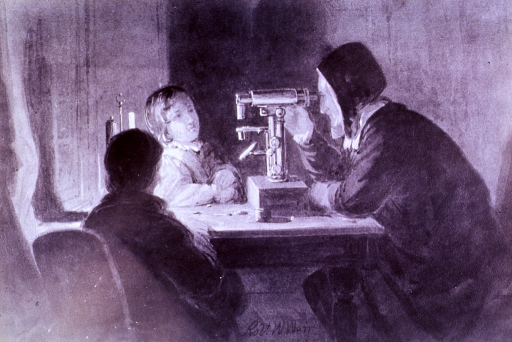 <p>Depicts Jacob Whitman Bailey, at his microscope, with wife and son nearby.</p>