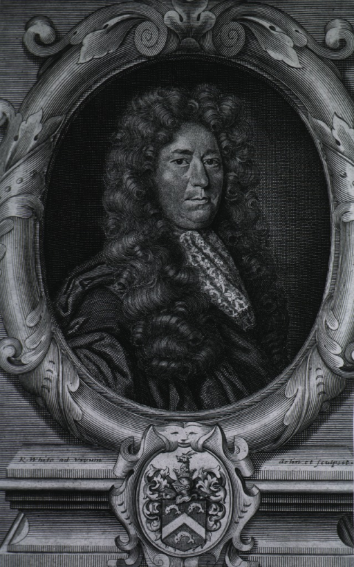 <p>Head and shoulders, right pose, full face, in oval showing coat-of-arms.</p>