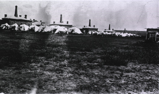 <p>A view of samtarus tents at Military Hospital No. 2.</p>