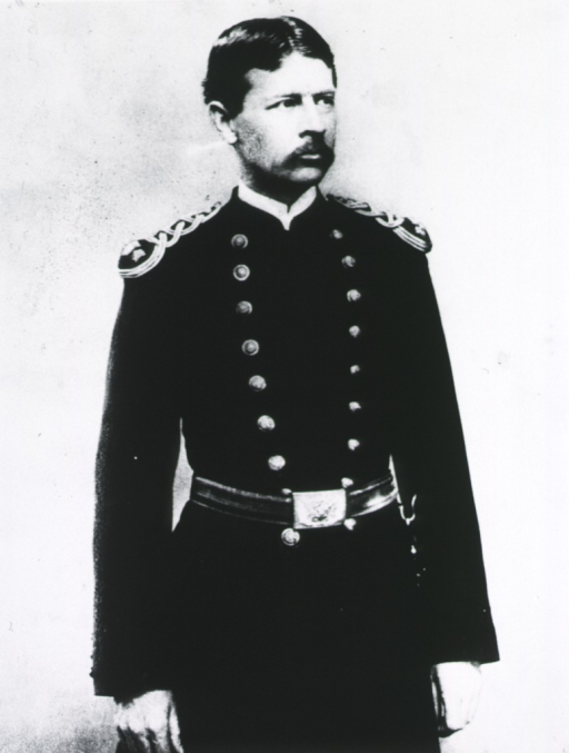<p>Three quarter length, front pose, head slightly turned to right; in uniform of Major with shoulder-knots.</p>