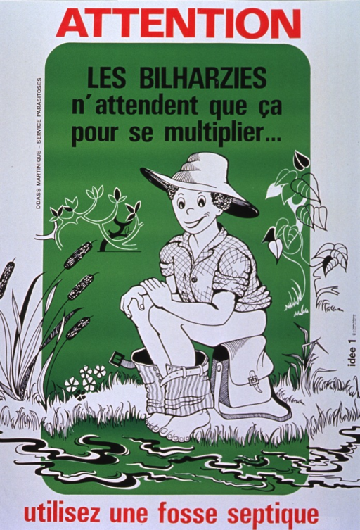 <p>White and green poster with red and black lettering.  Initial title words at top of poster.  Dominant visual image is an illustration of a person squatting, with pants lowered, as if to defecate.  The person is outdoors and near a stream.  Remaining title words at bottom of poster.</p>