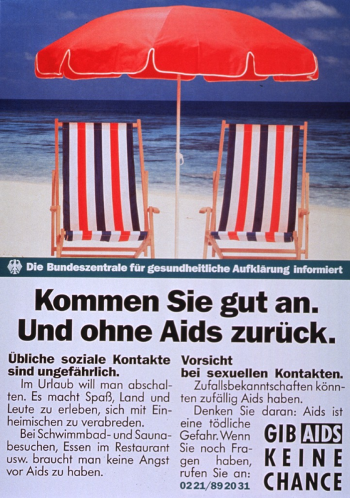 <p>Multicolor poster.  Visual image in upper portion of poster.  Image is a reproduction of a color photo of two striped beach chairs under an umbrella, with a body of water in the background.  Publisher information below photo.  Title below publisher information.  Text below title stresses that regular social contact is harmless and travelers can swim and take a sauna without fear of AIDS.  Text also calls for caution in sexual contacts, reminding the reader that AIDS is a deadly disease.  Note in lower right corner.</p>