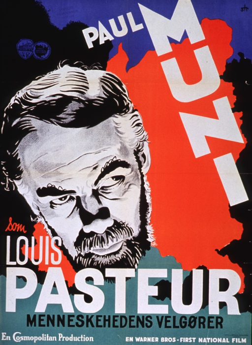 <p>Multicolor poster with black and white lettering advertising a film biography of Louis Pasteur, starring Paul Muni.  Actor's name in upper right corner.  Visual image is an illustration of Pasteur's face.  Remaining title text below illustration.  Publisher information and note at bottom of poster.  Stamp reading &quot;Statens Filmcensur, 1937-38&quot; in upper left corner.</p>