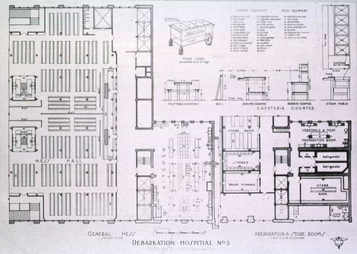 <p>Plan for Greenhut building: preparation &amp; store rooms on first floor mezzanine;  general mess on second floor; cafeteria counter.</p>
