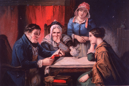 <p>Advertising card offering as &quot;words of comfort&quot; various Dr. Jayne's products to help overcome bodily ailments and irregularities.  Visual motif:  Family gathered around the table for Bible reading.</p>