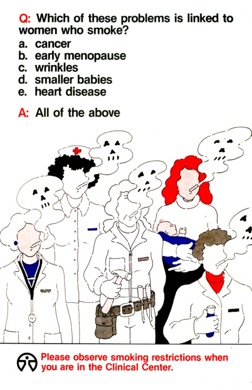 <p>The title question and answers are presented in multiple choice format.  The choices are cancer, early menopause, wrinkles, smaller babies, and heart disease.  The answer is All of the above.  Five women representing a doctor, a nurse, a repairman, a mother, and a laboratory worker are shown smoking cigarettes.  Each cloud of smoke has a skull in it.</p>