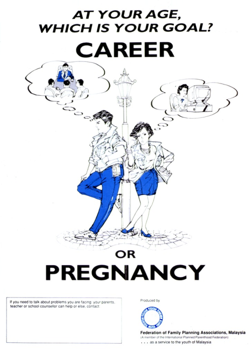 <p>White poster with black lettering and blue highlights.  Initial title words at top of poster.  Visual image is an illustration of a young man and woman, both leaning against a streetlight and envisioning themselves in a work setting.  Remaining title words below illustrations.  Space in lower left corner for local contact information, though none given.  Publisher logo and information in lower right corner.</p>