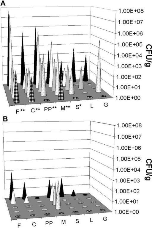 Anti-IFNγ neutralizing antibody reactivates S. typhimurium replication in persistently infected mice. (A) Bacterial counts in tissues from 129sv mice infected for 260 d and injected with IFNγ neutralizing antibody. (B) Bacterial counts in tissues from 129sv mice infected for 260 d and injected with isotype control antibody. The x axis is the tissue where F = feces, C = cecum, PP = Peyer's patches, M = mesenteric LNs, S = spleen, L = liver, G = gall bladder. The y axis denotes individual mice. The z axis is the CFU per gram of tissue. The Mann-Whitney U test was performed for statistical significance comparing the bacterial load from anti-IFNγ neutralizing antibody–treated mice with control antibody-treated mice. *, P ≤ 0.05; **, P ≤ 0.01.
