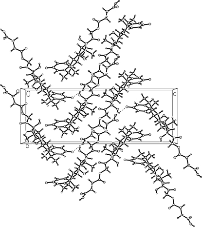 The molecular packing of (I) viewed along the a axis. Dashed lines indicate the hydrogen bonding interactions.
