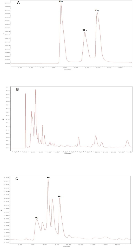 The HPLC chromatograms of thiamine (B1), nicotinamide (B3) and pyridoxine (B6) for standard solutions. A: After extraction using DLLME; B: sour cherry juice without extraction; C: sour cherry juice after extraction using DLLME.