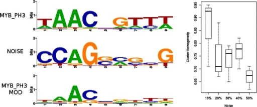 Robustness to noise. Left panel: The creation process for the five synthetic datasets to assess the ability of GMACS to maintain homogeneous clusters in the face of decreasing information content is depicted. The MYB_PH3 motif is combined with a motif generated by randomly sampling columns from the JASPAR database resulting in a much more degenerate motif. Right panel: The ability of GMACS to produce structurally homogeneous clusters remains robust, maintained at a level above 0.6 even when information content for each motif in the dataset has been significantly reduced.