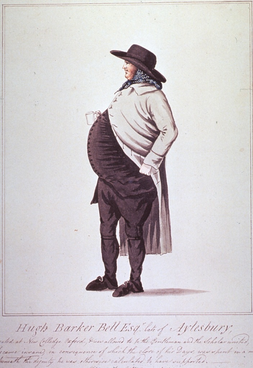 <p>A large rotund man standing in left profile, full length, wearing hat and coat.</p>