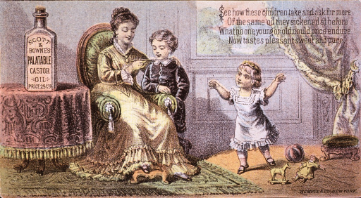 <p>Children enjoy the taste of Scott &amp; Bowne's Platable Castor Oil so much that they ask for more.  Visual motif:  Shows a child receiving a spoonful of castor oil from his mother; another child anxiously awaits her turn.</p>