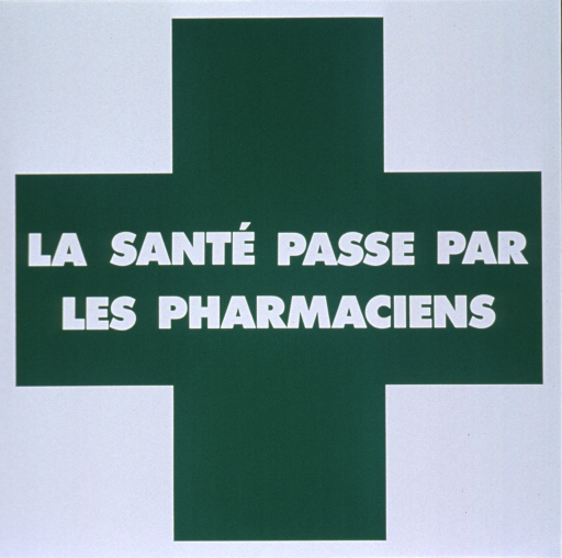 <p>Glossy white and green poster with white lettering.  Visual image is a large green cross.  Title in center of poster, superimposed on the transverse of the cross.  Title stresses the pharmacist's role in maintaining good health.  Poster is on adhesive paper.</p>