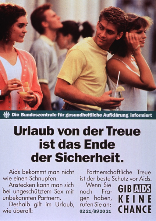 <p>Multicolor poster.  Visual image in upper portion of poster.  Image is a reproduction of a color photo in which a young man admires one woman while he walks with his arm around another.  Publisher information below photo.  Title below publisher information.  Text below title stresses that AIDS is transmitted by unprotected sex with unknown partners and that this is true even while on vacation.  Note in lower right corner.</p>