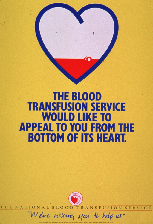 <p>Predominantly yellow poster with blue and black lettering.  Visual image is a symbolic heart shape.  Most of the heart is white, with a thin band of red near the bottom.  A couple of bubbles appear on the red portion, as if it is liquid.  Title below image.  Publisher information and note at bottom of poster.</p>