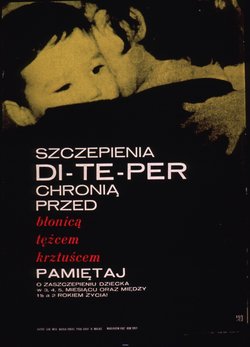 <p>Predominantly black poster with white and pink lettering.  Visual image is a photo reproduction featuring a young child being held by an adult.  The child is held chest to chest, as if being carried, with its face appearing over the adult's shoulder.  Title and additional text in lower portion of poster.  Title addresses the DTP vaccine and its protection from diphtheria, tetanus, and pertussis.</p>