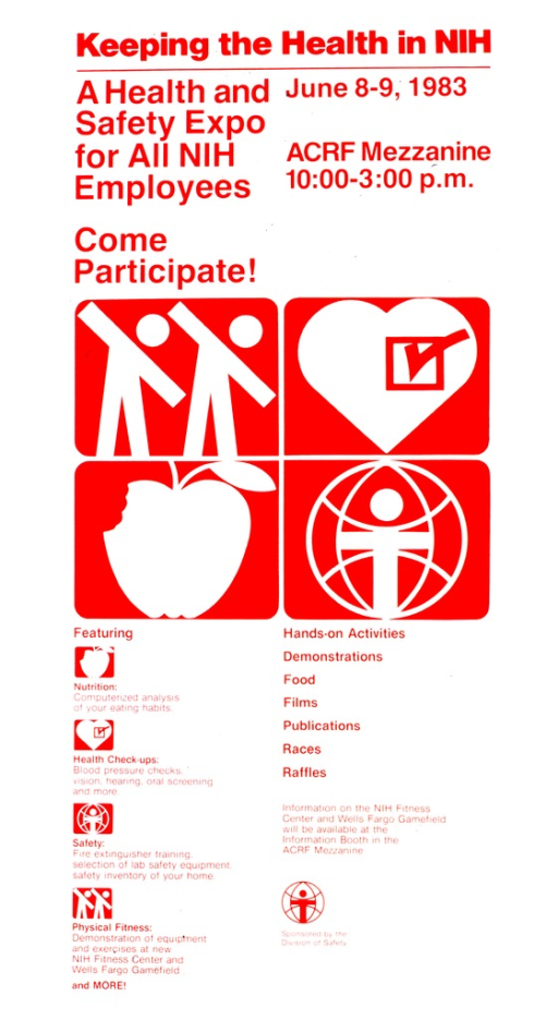 <p>In the center of the poster there are four red squares with symbols inside for nutrition (an apple with a bite out of it), health check-ups (a heart with a box checked off), safety (the logo for the Division of Safety), and physical fitness (two figures bending).  A list is gven of the activities available.</p>