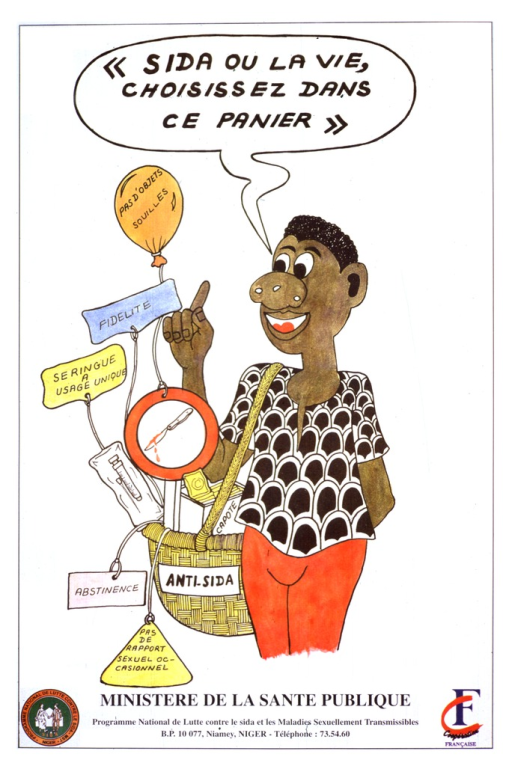 <p>A cartoon drawing of an African-American woman has a basket hanging from her right shoulder, which is labeled, &quot;ANTI-SIDA.&quot;  Various objects and concepts are in the basket with accompanying labels in French; a switch blade with blood dripping off it in a circle hanging from a balloon labeled &quot;pas d'objets souilles&quot;, a label that says &quot;Fidelite&quot;, a syringe in a plastic bag with the label &quot;seringue a usage unique&quot;, a box of condoms labeled &quot;capote&quot;, a label that says &quot;abstinence&quot;, and a label that says &quot;pas de rapport sexuel occasionnel.&quot; Publisher information at bottom of poster. Logos for Programme National de Lutte contre le SIDA and Cooperation Francʹaise at bottom of poster.</p>