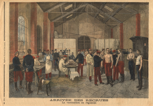 <p>Army recruits stand in a large hall and await vaccination by military personnel in uniform.  In the center of the hall, a man in a uniform and smock sits at a table on which an animal (a donkey?) lies on its side.  The man draws blood from the animal's shank.</p>
