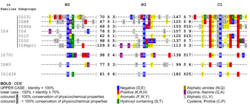 DDE and YREK motifs of IS4 subgroups and emerging families. Comparative overview of conserved transposase regions among IS4 subgroups and emerging families. Each line represents a part of the amino acid consensus obtained from multiple alignments of members belonging to the displayed IS groups. Numbers in brackets correspond to the mean amino acid spacer (accompanied by standard deviation) between the two aspartate residues or the aspartate and glutamate residues of the DDE motifs among transposases form a given group. The conserved transposase regions N2, N3 and C1 are mentioned on top of alignment. Symbols and colors are used as depicted in keys.