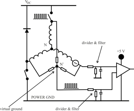 Back emf sensing based on virtual neutral point 38 open i for Motor current sensing circuit