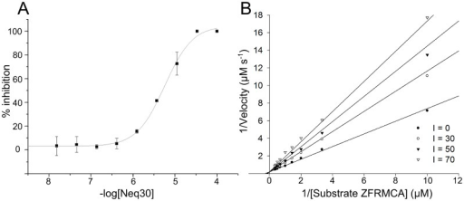 (A) Dose-response and (B) Linewaver-Burk curves for Neq30 from Table S1.Non-linear fit method was employed in the analysis.