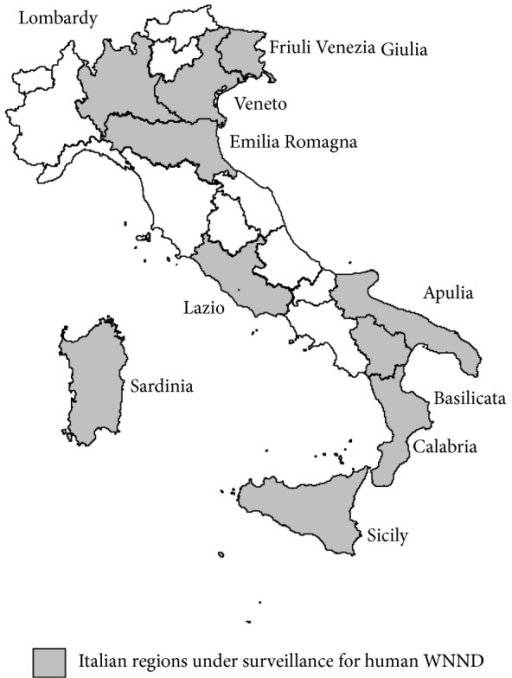 Regions under surveillance for human WNND, Italy 2013.