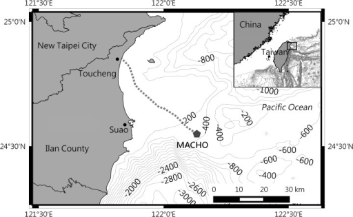Location of the marine cable hosted observatory.The MACHO is connected with a land station at Toucheng Town through a 45-km-long submarine cable (dashed line).