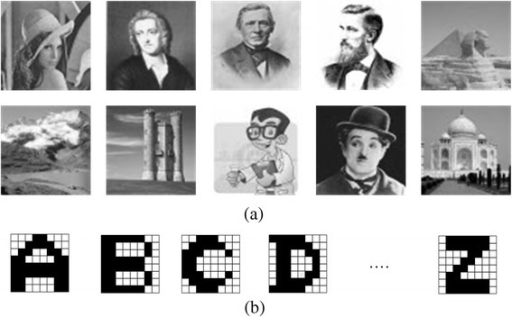 a 10 greyscale images with 32 × 32 pixels. b 26 black-and-white alphabet characters with 8 × 8 pixels