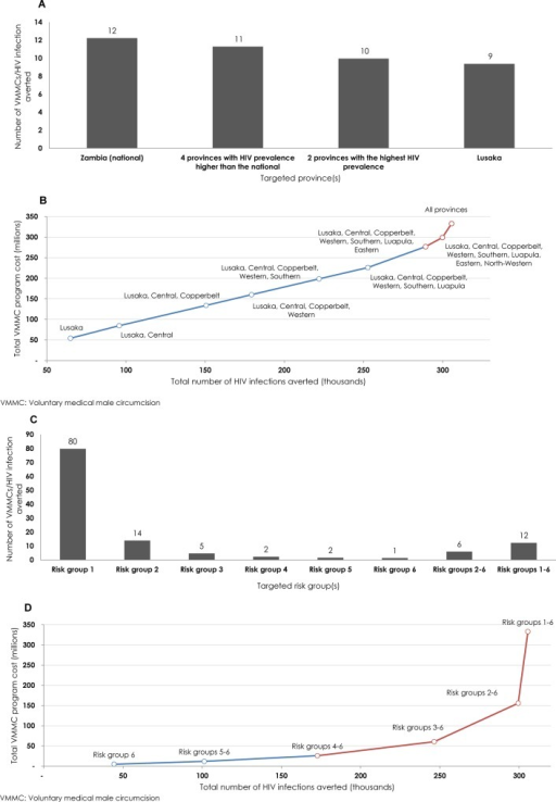 Projected outcomes of geographic and risk-group prioritization.A) Number of voluntary medical male circumcisions (VMMCs) needed to avert one HIV infection (effectiveness) by 2025 through geographic prioritization. B) Expansion path curve showing the incremental increase in total cost of the VMMC program relative to total number of HIV infections averted (magnitude of impact) for each geographic targeted intervention. C) Number of VMMCs needed to avert one HIV infection by 2025 through risk-group prioritization. D) Expansion path curve showing the incremental increase in total cost of the VMMC program relative to total number of HIV infections averted for each risk-group targeted intervention. In both B and D, the blue line describes the expansion of the program with minimal diminishing of returns and the red line describes the expansion of the program with considerable diminishing of returns.