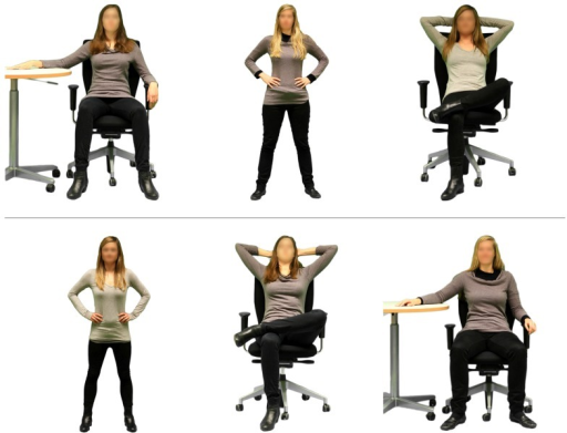Two sample sequences of stimulus photographs in the female high-power postures condition. The sequence of depicted models and adopted postures (and hence the combinations of model and posture) was random.