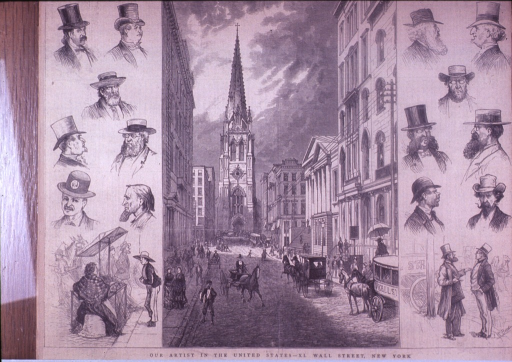 <p>A drawing of a bustling Wall Street with horse drawn carriages and people walking; down each side of the drawing are profiles of men with hats; in the lower left corner is a woman vendor and her cart; at the end of the street is Trinity Church.</p>