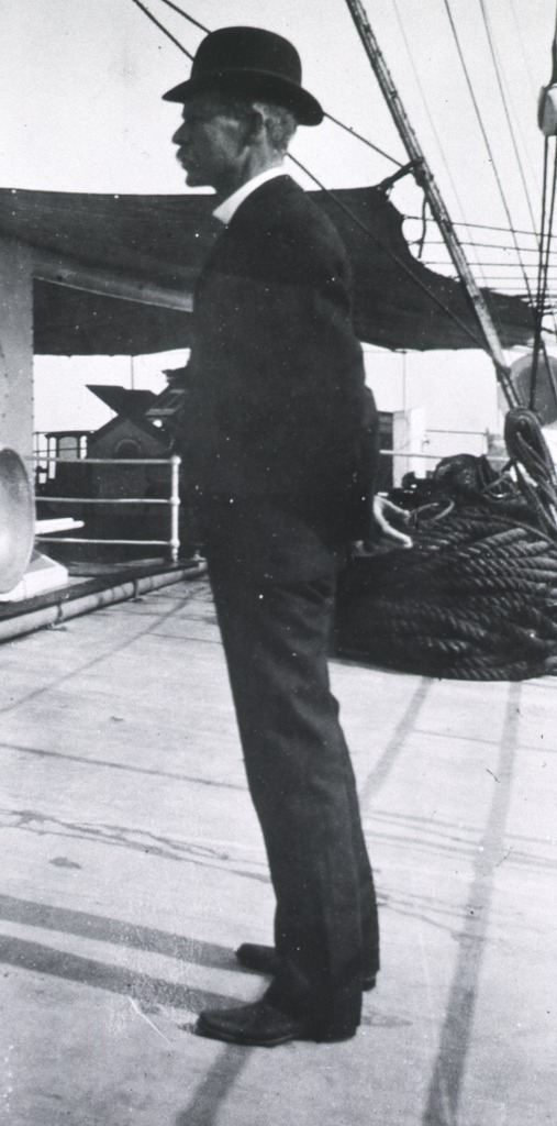 <p>Standing, left pose, on board on Army Transport.</p>