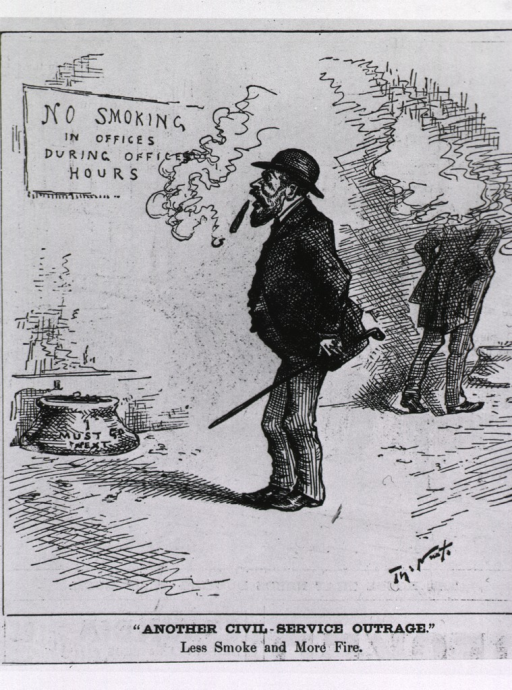 <p>A man reacts with such surprise at the notice on the wall stating that there is &quot;NO SMOKING in Offices During Office Hours&quot; that the cigar he was smoking drops from his mouth.</p>