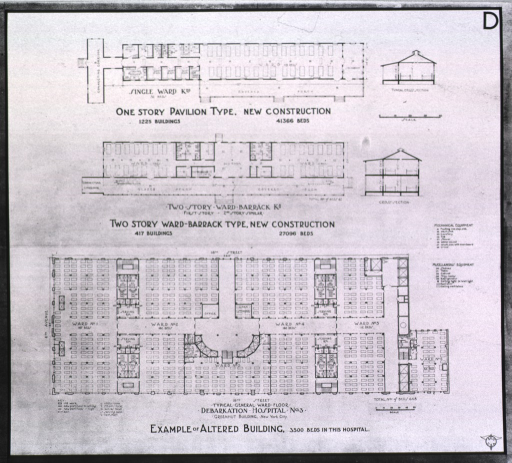 <p>Designs for the Greenhut building:  One story pavilion type; two story ward-barrack type; a typical general ward floor.</p>