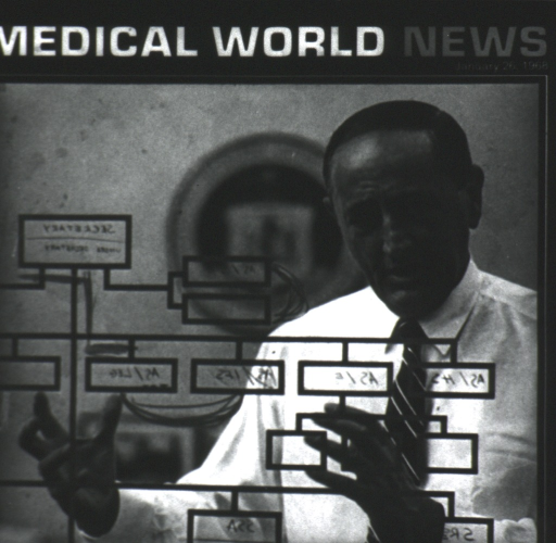 <p>Cover for Medical World News, January 26, 1968; Secretary of HEW, John W. Gardner is shown through a transparency of an organizational chart.</p>