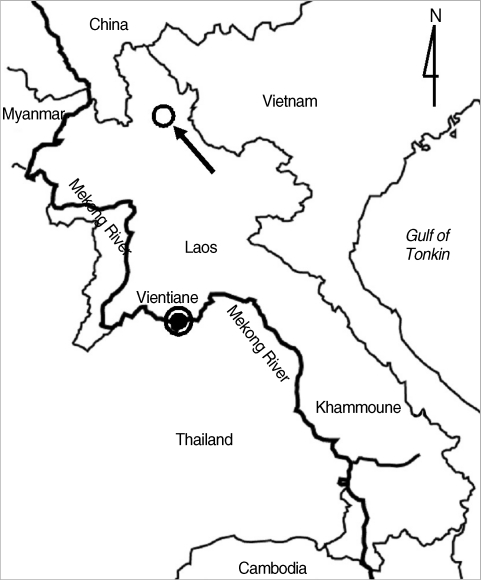 Map Showing The Surveyed Area Of Lao PDR (arrow: Khoua