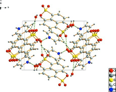 Crystal packing of the title compound viewed along the a axis. Dashed lines indicate hydrogen bonds.