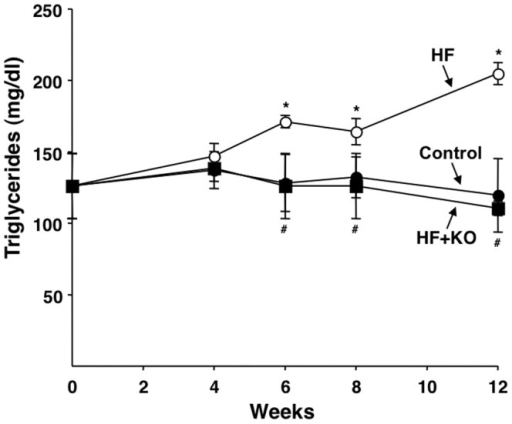 Effect of KO on plasma triglycerides.The levels of plasma triglycerides were determined at the times indicated, using commercial kits. The values reported in the figure represent the means ± SD (n = 4). **P<0.05 vs. rats fed control diet; #P<0.05 vs. rats fed HF diet.