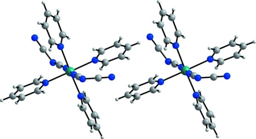 Crystal structure of the title compound with a view of the discrete complexes (green = nickel(II), blue = nitrogen, grey = carbon and white = hydrogen).